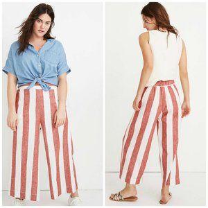Madewell Huston Linen Crop Wide Leg Stripe pants